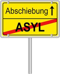 Asyl Abschiebung Schild