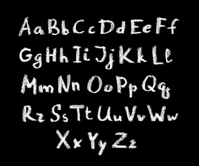 Chalk hand written font of english alphabet on blackboard