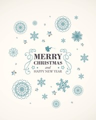 Vector Illustration of a Decorative Christmas Design with Snowflakes