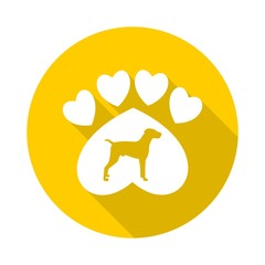 Paw Sign, Dog, Heart with long shadow - illustration