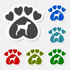 Paw Sign, Dog, Heart sticker set- illustration