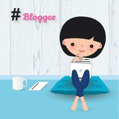 Blogger woman laptop cartoon