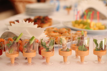 canapes and snacks at the buffet