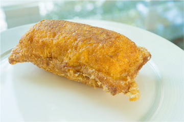 Fried toast with banana fillings