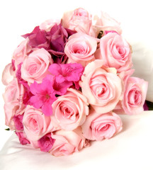 Pretty bouquet of fresh pink spring flowers