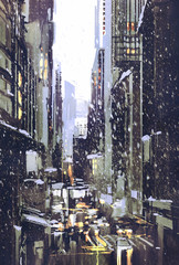 painting of winter city with snow