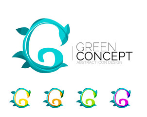 Set of abstract eco plant icons, business logotype nature green