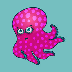 blue octopus. cute blue baby octopus vector illustration isolated
