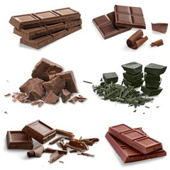 Chocolate bars and pieces.