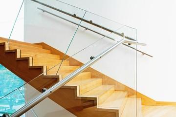 Foto op Plexiglas Trappen Modern interior with wooden stairs