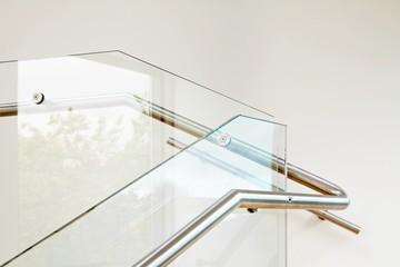 Modern architecture interior with glass balustrade