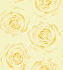 Beautiful vertical seamless background with yellow roses, sprays, drops.