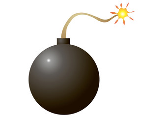 Vector illustration. A bomb on a white background.