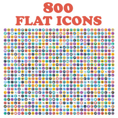 Set of 800 flat icons, for web, internet, mobile apps, interface design