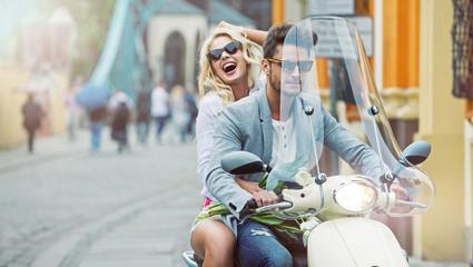 Calm boyfriend giving his girlfriend a lift