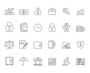 Painted with Lines Bank, Business and finance icons -vector icon set