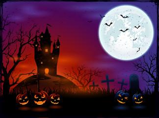 Castle and Halloween pumpkins