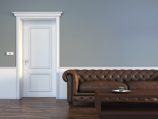 Door with sofa in empty room interior scene