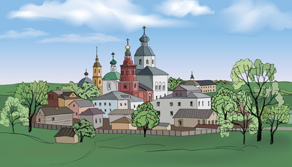 Russian city Suzdal. Travel Russia, traditional ancient town Summer cityscape