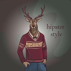 Hand Drawn Vector Illustration of Deer Hipster