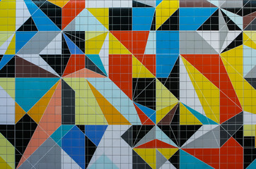 Tiles with colorful abstract cubism