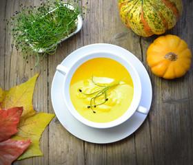 Pumpkin cream in autumn