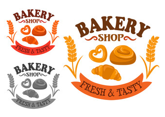 Bakery icon with sweet buns and croissant