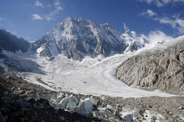 Alpine landscape with Grandes Jorasses peak and glacier