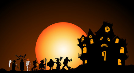 halloween costumes with haunted house and moon