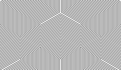 Seamless black and white vintage trilateral op art lines pattern vector