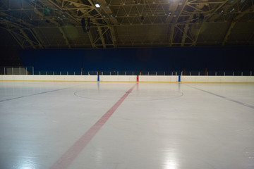 empty ice rink, hockey arena