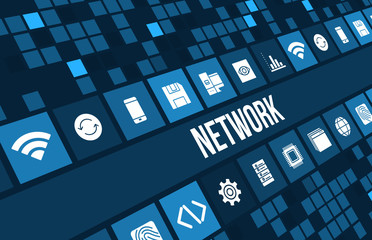Network concept image with technology icons and copyspace