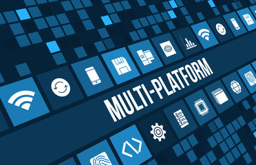 Multi Platform concept image with technology icons and copyspace Wall mural