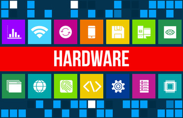 Hardware concept image with technology icons and copyspace