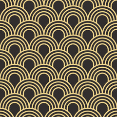 Seamless antique palette simple art deco wave scales pattern vector