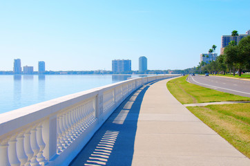 The world's longest continuous sidewalk, Bayshore Boulevard in Tampa, Florida, along Tampa Bay and is 4.5 miles (7.2 km) long and is used for hiking, jogging, walking, fishing and big events.