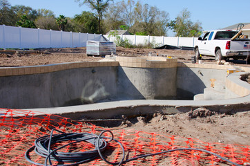 Residential swimming pool under construction
