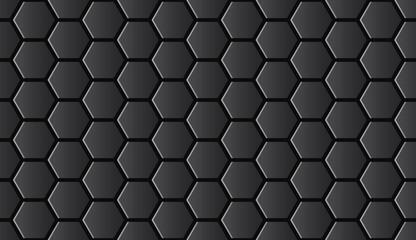 Seamless black shiny hi-tech hexagonal pattern vector