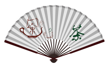 Ancient Chinese fan with teapot