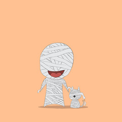 Cartoon mummy and dog mummy, drawing by hand vector, halloween