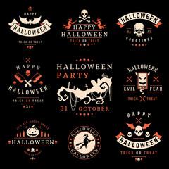 Set Vintage Happy Halloween Badges and Labels