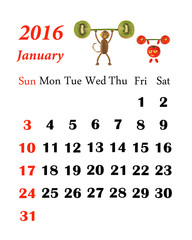 2016 Calendar. January. Little funny people from vegetables and