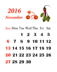 2016 Calendar. November.  Little funny people from vegetables an