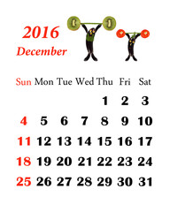 2016 Calendar. Desember. Little funny people from vegetables and