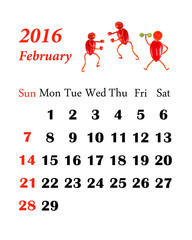 2016 Calendar. February. Little funny people from vegetables and