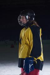 teen girl  ice hockey player portrait