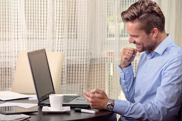 businessman in a man's shirt with success