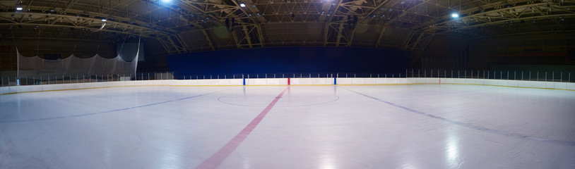 empty ice rink, hockey arena