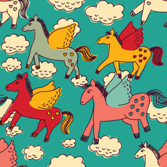Horses and clouds color seamless pattern