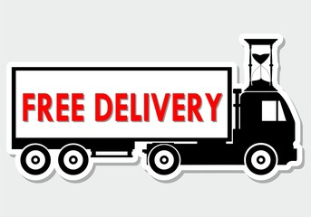 Flat style vector illustration free delivery service truck shipping